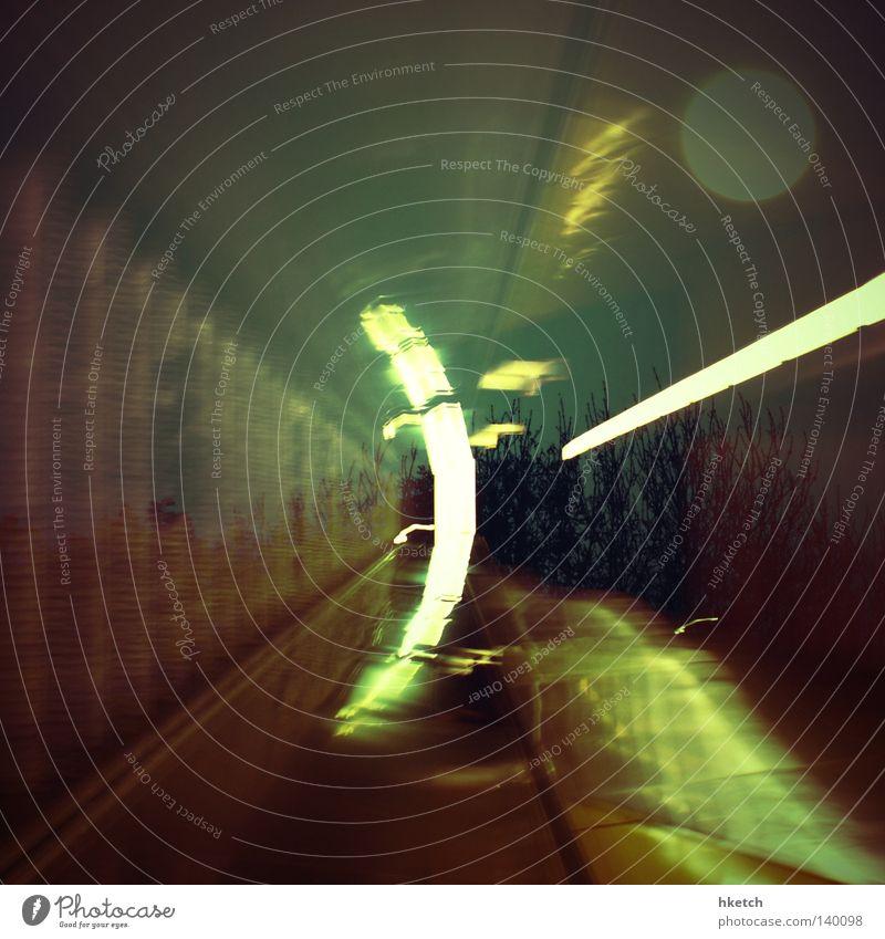 Double Trouble Beleuchtung Tunnel Mond Strahlung Doppelbelichtung unterirdisch Rolltreppe Öffentlicher Dienst