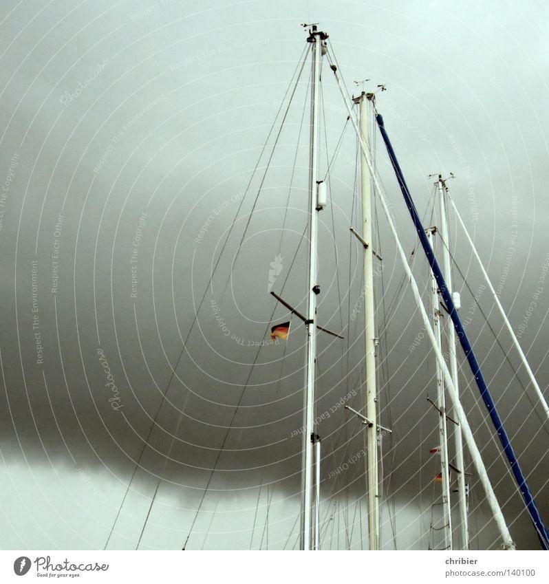 Wettermasten Wolken Sport Spielen Regen Wasserfahrzeug Wind Seil Fahne Freizeit & Hobby Hafen Sturm Bundesadler Segeln Deutsche Flagge Steg