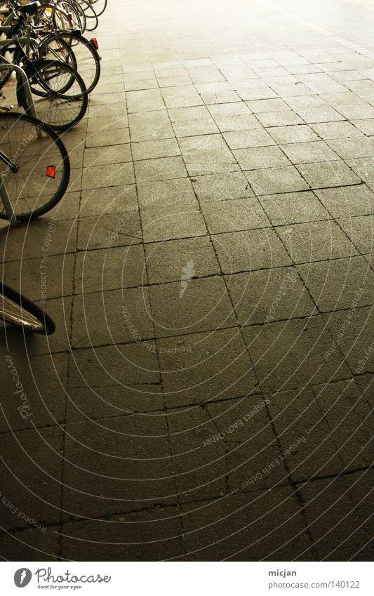 H08 - Welcome Fahrrad Reifen parken Fahrradständer rund Linie dunkel hell Verlauf Hintergrundbild Licht Schatten Stein Bodenbelag braun Mobilität Radrennen