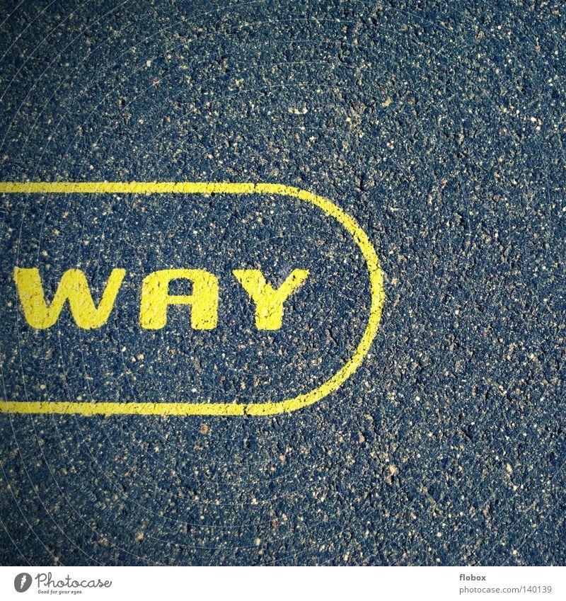 Wo gehts nach ??? Buchstaben gelb Straßenbegrenzung Landstraße Bewegung Untergrund Asphalt Fahrzeug Oberfläche rau Seitenstreifen Streifen Fahrradweg Fahrbahn