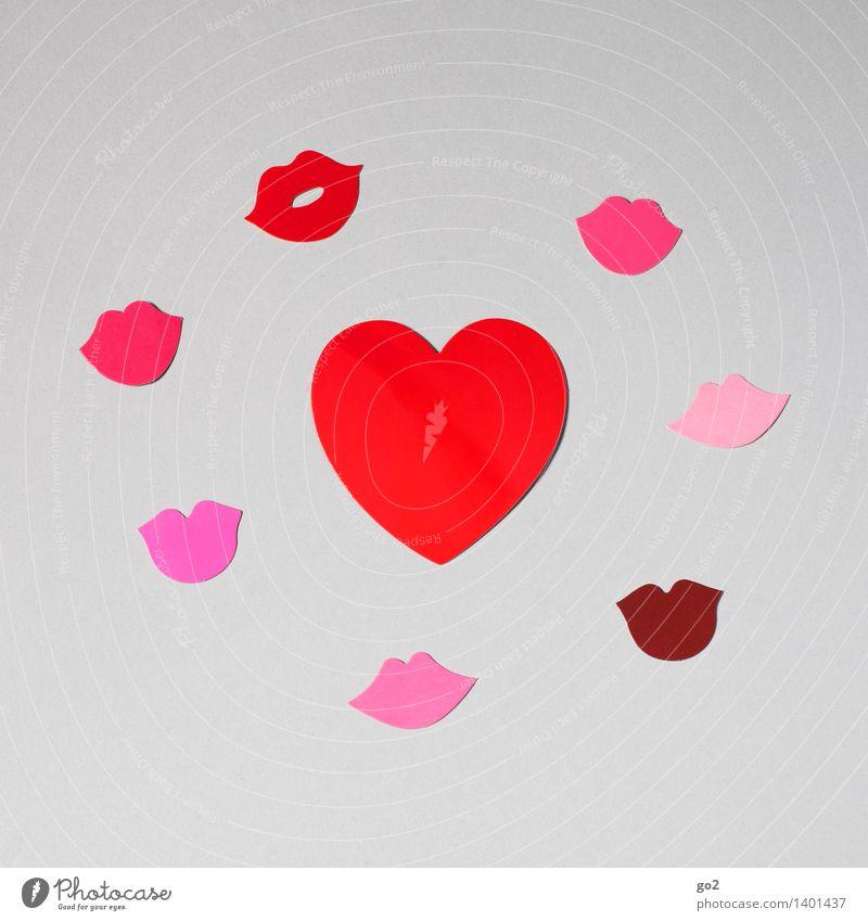 Herzlich rot Liebe Gefühle rosa Herz Mund Lebensfreude Papier Romantik Zeichen Lippen Verliebtheit Küssen Basteln Valentinstag Sympathie