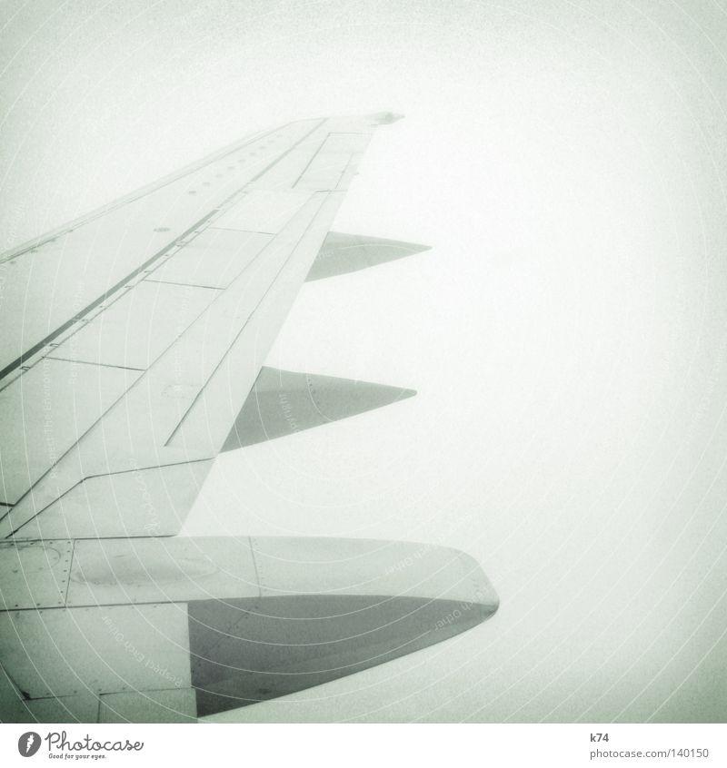 AIRCRAFT Flugzeug Tragfläche fliegen Strömung Mechanik Geschwindigkeit Stahl Luft Verkehrsmittel Güterverkehr & Logistik Luftverkehr Beginn Nebel Wolken Ferne