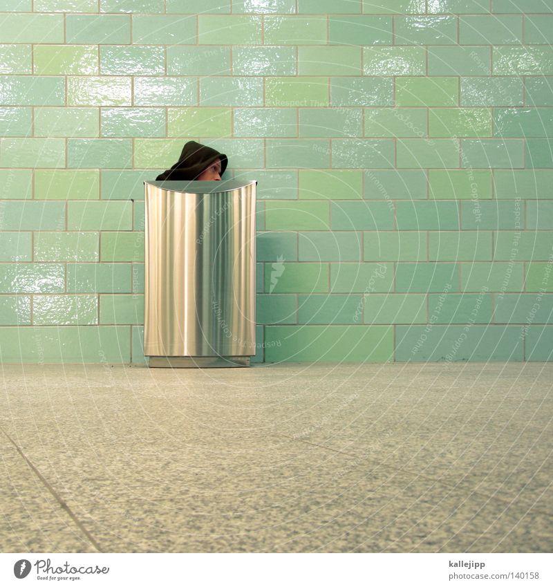 hide and seek Mensch Mann grün Gesicht Architektur Wiese lustig Gras Stil Mauer Lifestyle Kunst grau Luft Wachstum verrückt
