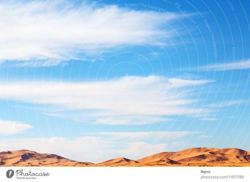 die Sahara-Marokko-Wüste Ferien & Urlaub & Reisen Abenteuer Safari Sonne Natur Landschaft Sand Wärme Dürre heiß gelb rot Einsamkeit Afrika Afrikanisch arabisch
