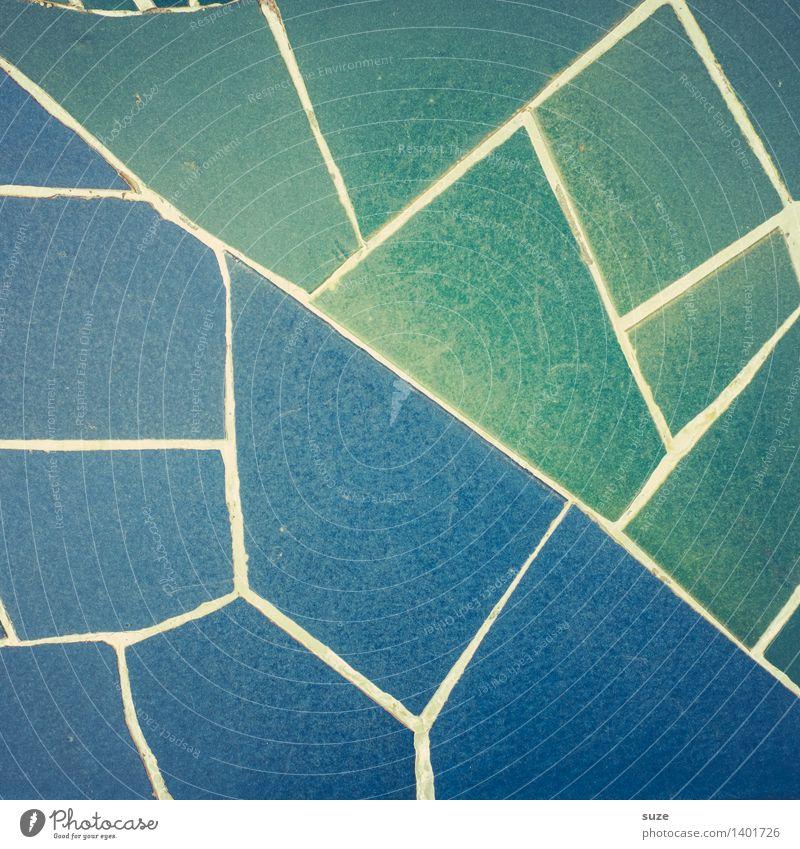 Blaugrün Stil Design Handarbeit Innenarchitektur Dekoration & Verzierung Kunst Kunstwerk Architektur Mauer Wand Sammlung Stein alt ästhetisch eckig historisch