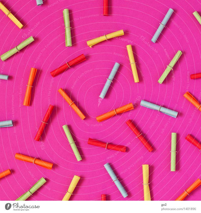 Viel Glück! Farbe rosa Erfolg ästhetisch Papier verlieren Lotterielose Zufall Glücksspiel Pechvogel Losbude