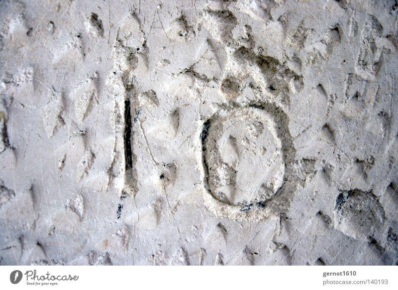 10. weiß schwarz Wand Graffiti Kunst Schilder & Markierungen Ziffern & Zahlen verfallen Furche Putz 10 Kunsthandwerk Hacke Gotteshäuser hacken