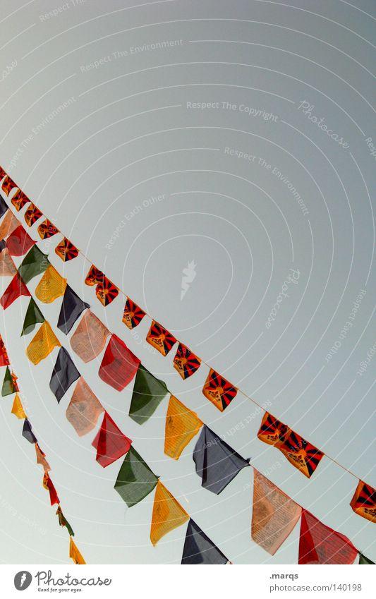 Free Tibet Himmel grün blau rot Sommer gelb Freiheit Wind frei Fahne Frieden Dekoration & Verzierung Gebet hängen Politik & Staat Selbstständigkeit