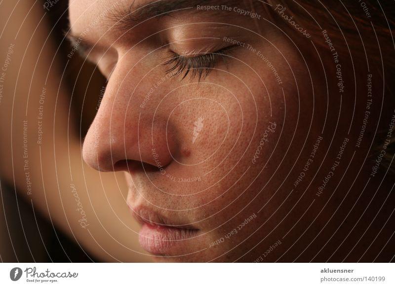 Dreaming Gesicht ruhig Auge träumen Mund Nase geschlossen weich Langeweile Wimpern