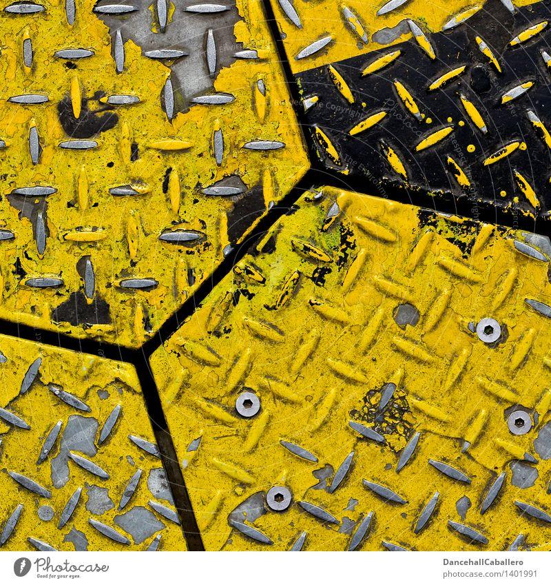 Metall-Wabe Stahl eckig gelb weiß Ecke Lack abblättern alt Niete Geometrie Linie Design Detailaufnahme angeordnet Hintergrundbild graphisch Farbfoto Muster