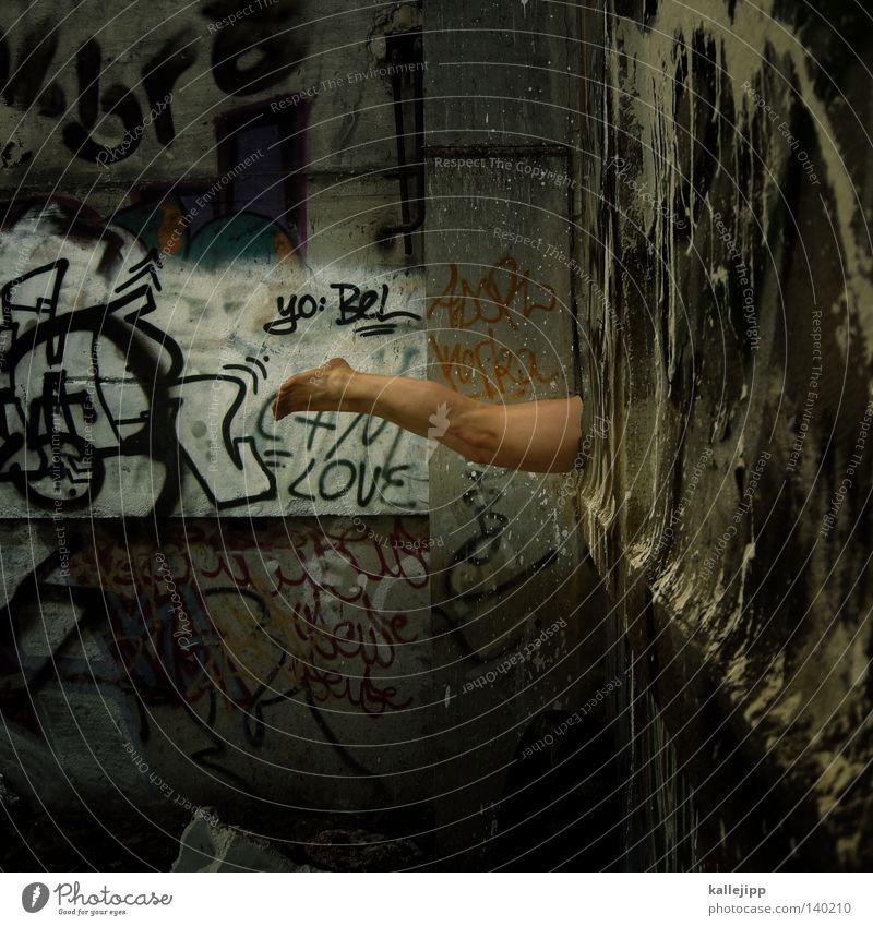 wasserballett Mensch Mann Farbe Wand Graffiti nackt Farbstoff Mauer Beine Fuß Beine Raum gehen Schwimmen & Baden Haut Platz