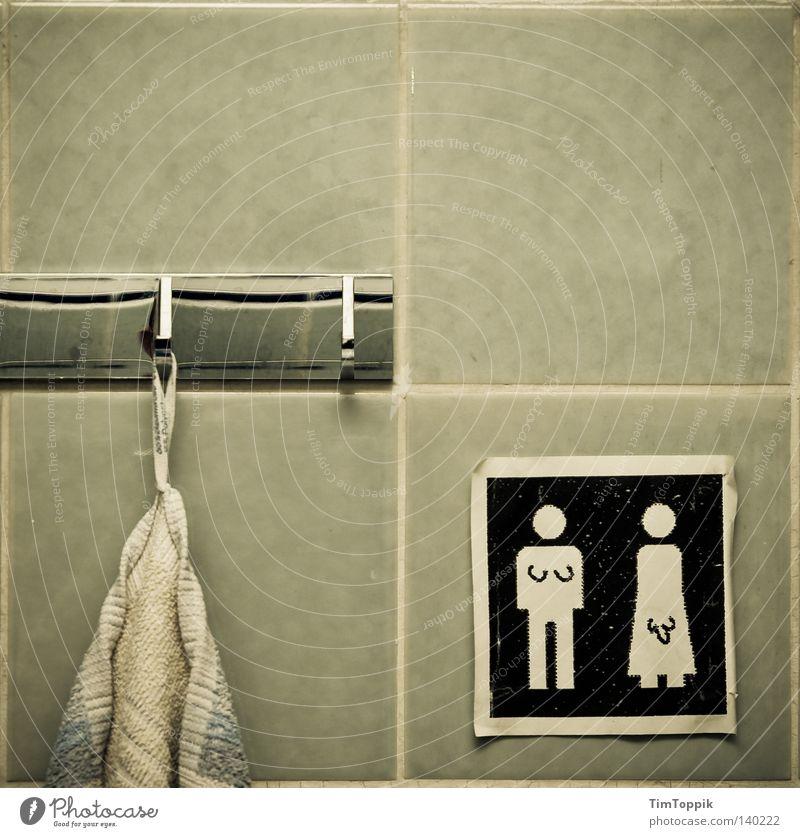 Transitklo Handtuch Frau Mann Penis Schwanz Symbole & Metaphern Gemälde Hinweisschild Geschlecht alternativ Zwitter Bad Reinigen Wäsche Damentoilette