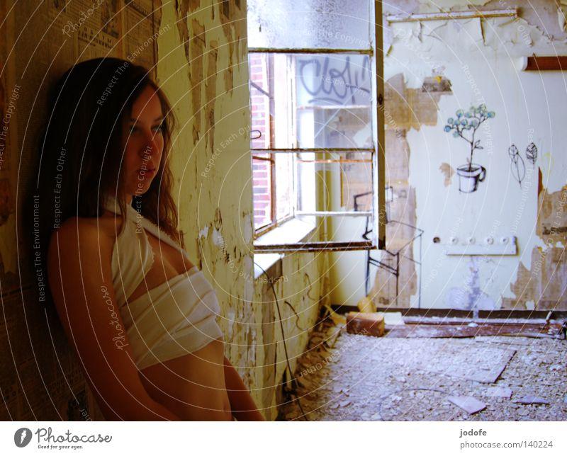 Einsamkeit. Frau Trauer Jugendliche verfallen Gebäude Raum Fenster Fensterscheibe Wand Tapete beschmiert Kunst Straßenkunst Blume Pflanze Symbole & Metaphern