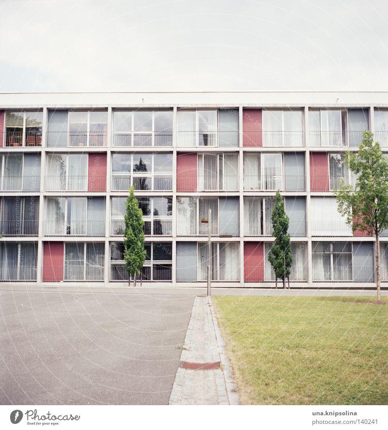 .heim Leben Häusliches Leben Studium Stadt Architektur Balkon Fenster alt modern grün analog Quadrat Mittelformat Asphalt Freiraum Wohnheim Seniorenheim