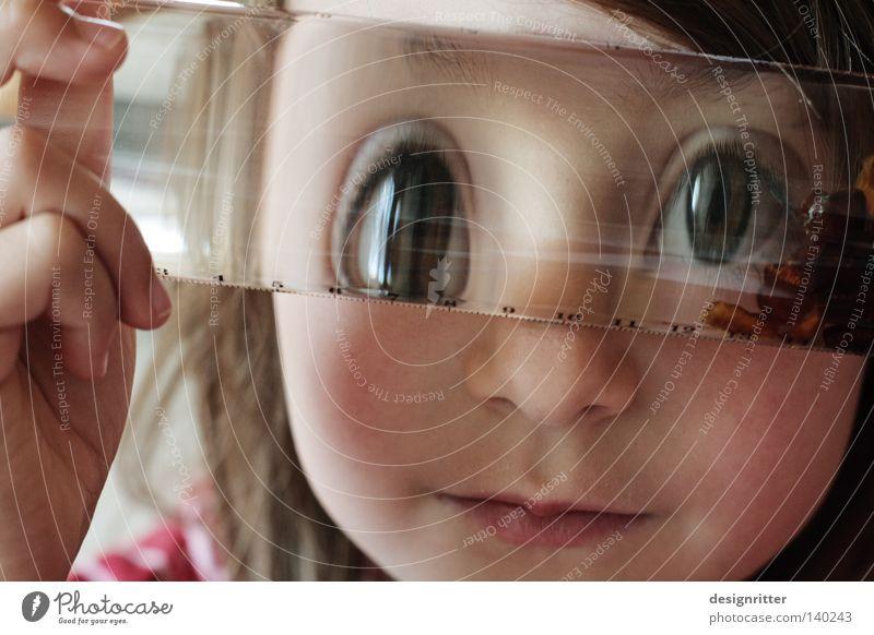 Wer tief ins Glas schaut … Kind Mädchen Trinkwasser Wasser Linse Blick Einblick Durchblick Auge Verzerrung Unschärfe unklar fremd fremdartig Erfinden