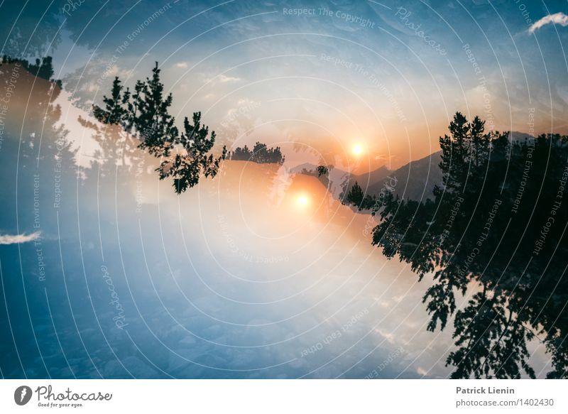 Doppelsonne Himmel Natur Ferien & Urlaub & Reisen Erholung Landschaft Wolken ruhig Ferne Wald Berge u. Gebirge Umwelt Lifestyle Freiheit Zufriedenheit Wetter