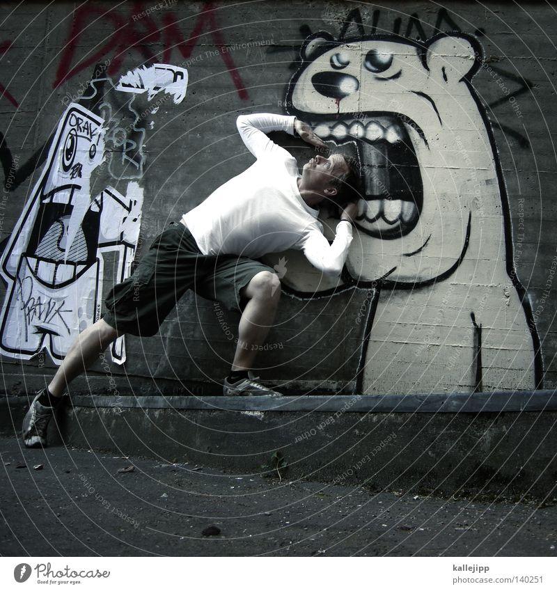 futter Mensch Mann Freude Tier Straße Tod Graffiti Leben lachen Mauer Angst Ernährung Beton Macht fallen Gebiss