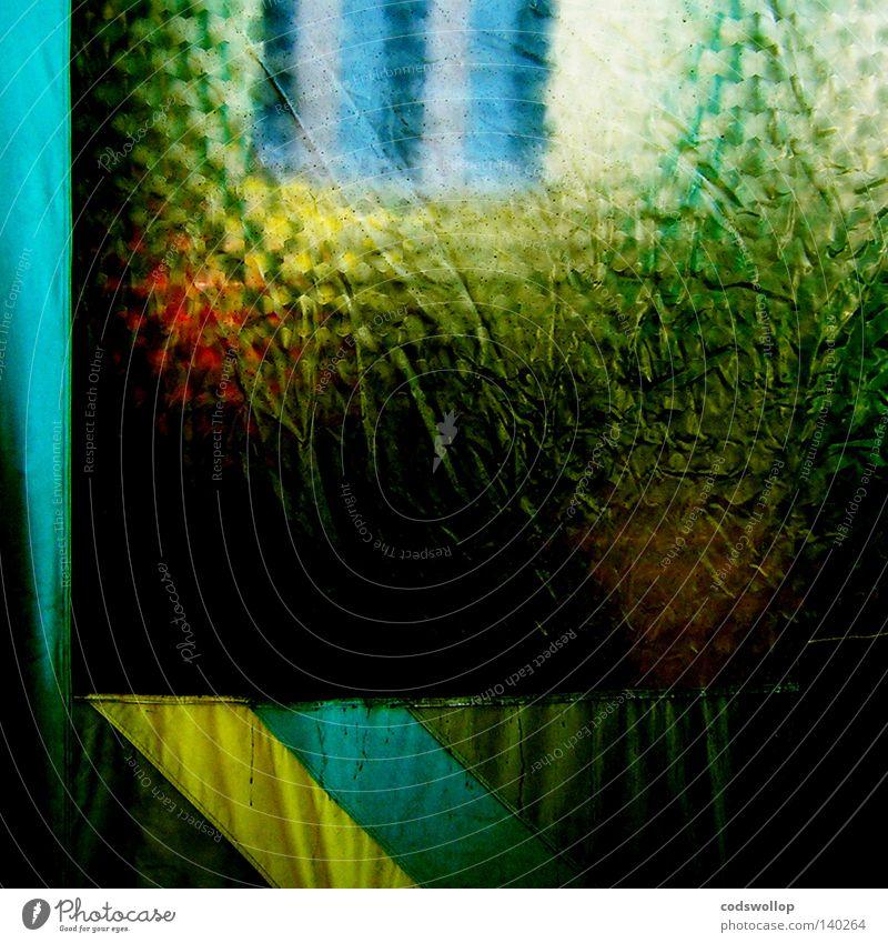 vorzeltdusche Kunststoff Fenster Strukturen & Formen Camping Pferch Festspiele Ausflug Detailaufnahme Regen Gardine Bad abstrakt Textur Badezimmer gelb blau