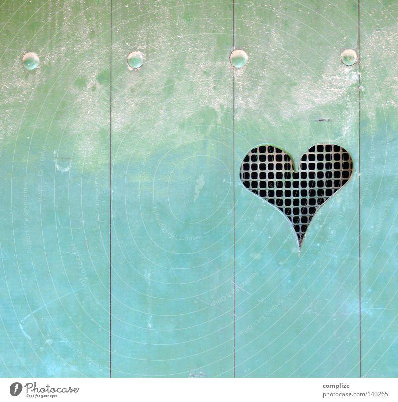 Herz blau Haus Liebe Farbe Holz Tür Herz Symbole & Metaphern Toilette Loch türkis Holzbrett Gitter Verliebtheit Haushalt Valentinstag