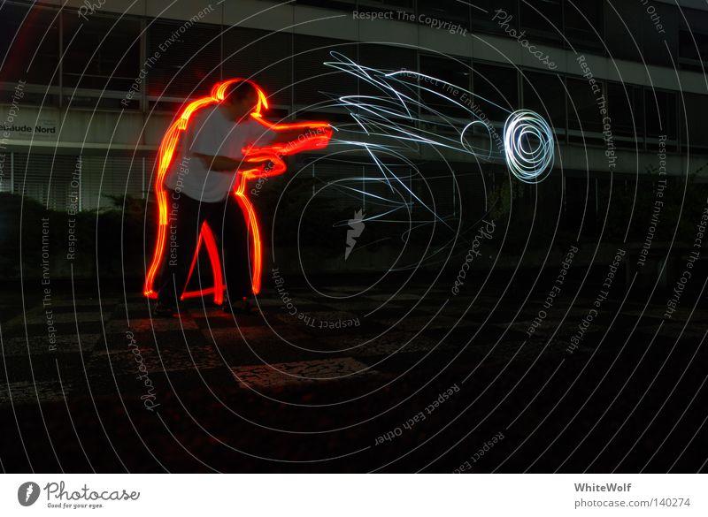 Lightball Nacht Beleuchtung dunkel Langzeitbelichtung Mensch rot blau Lampe falsch abstrakt Licht glänzend Lichterscheinung kämpfen Energie Macht Lightwriting