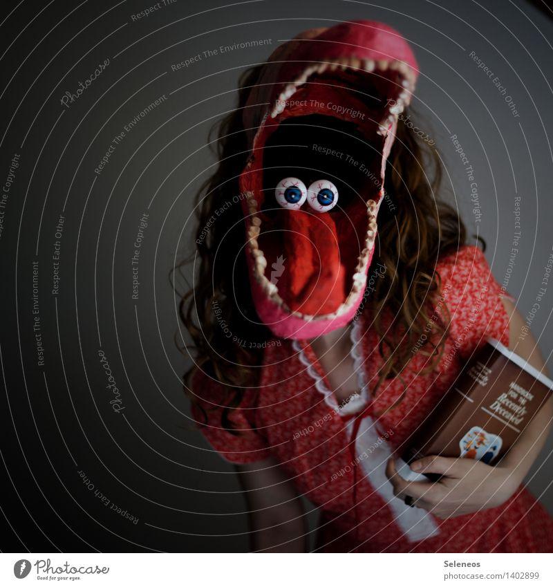 Schau mir in die Augen, Kleines Feste & Feiern Karneval Halloween Mensch feminin Frau Erwachsene Gesicht Mund Zähne 1 Maske gruselig Haare & Frisuren Locken