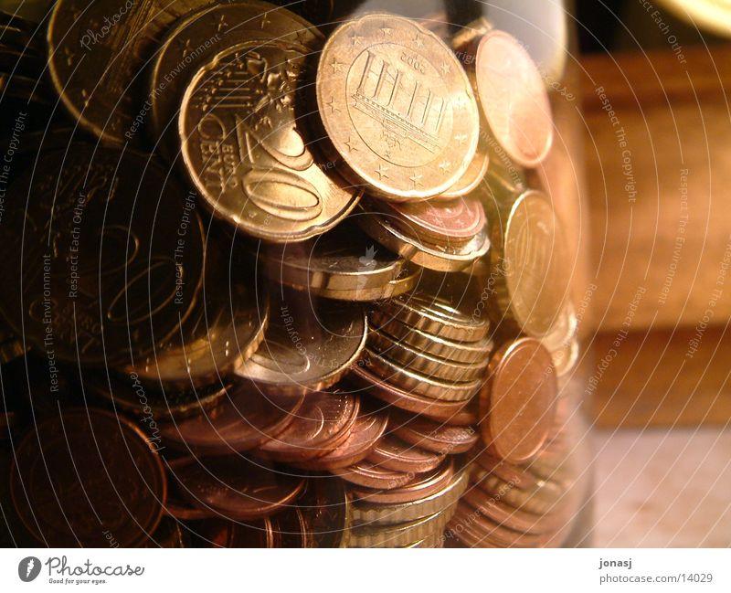 Geld im Glas Holz Euro Kapitalwirtschaft Geldmünzen Behälter u. Gefäße Cent Bronze