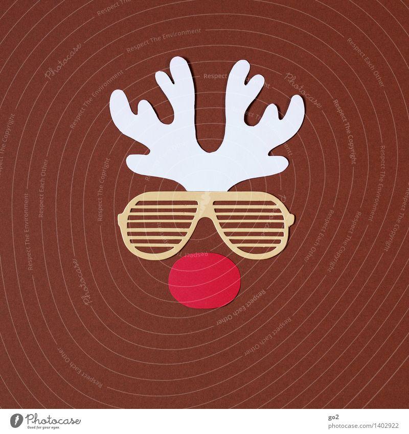 Rudolf Weihnachten & Advent weiß rot Tier lustig braun Papier Nase Sonnenbrille Horn Basteln Rentier
