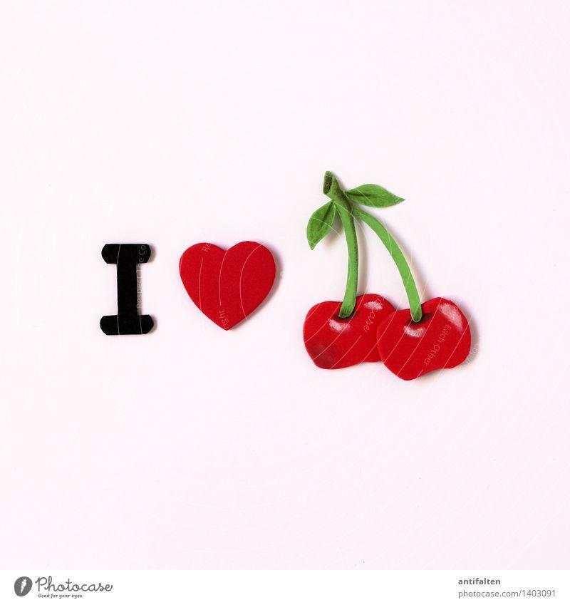 I <3 cherry Gesunde Ernährung rot Freude Liebe Essen Gesundheit Kunst Lebensmittel Frucht Freizeit & Hobby Schriftzeichen Herz süß Papier niedlich