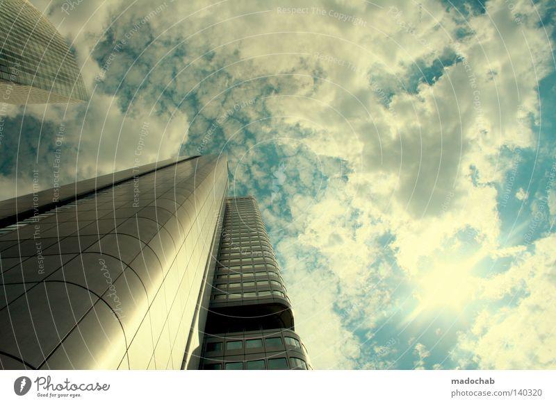 FFMAIN Himmel Stadt Wolken Arbeit & Erwerbstätigkeit oben Bewegung Gebäude Business Kraft Architektur glänzend Deutschland groß Hochhaus Beginn