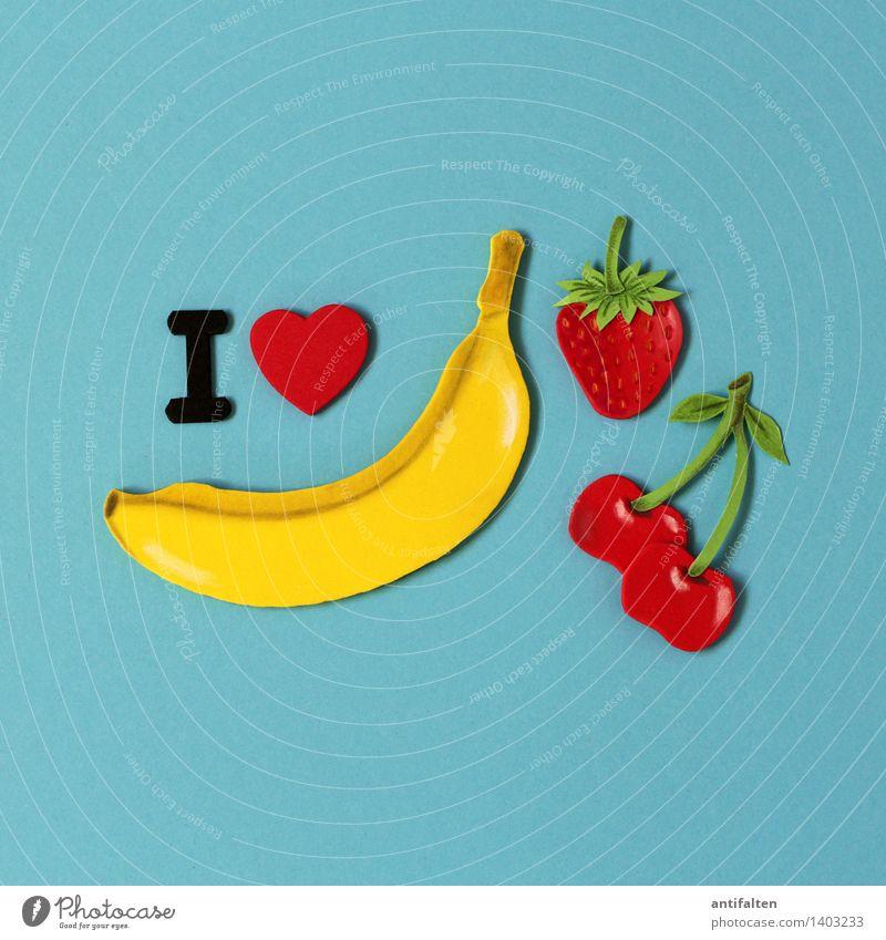 I <3 diversity Lebensmittel Frucht Kirsche Banane Erdbeeren Ernährung Essen Vegetarische Ernährung Diät Freizeit & Hobby Handarbeit Basteln Sommer Kunst Design