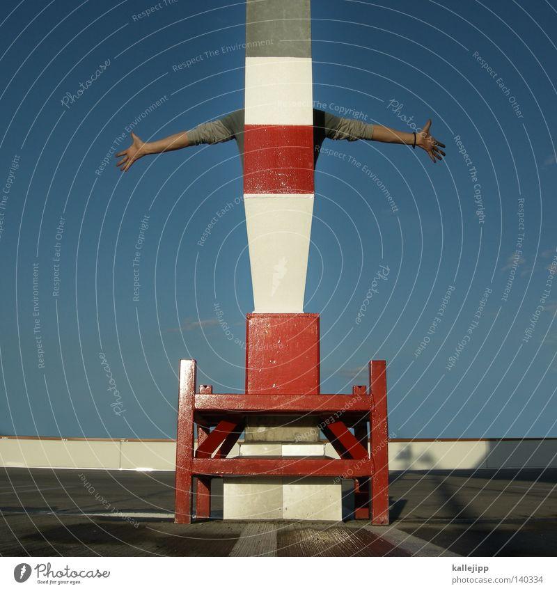 sie haben ihr ziel erreicht Mensch Mann blau Ferien & Urlaub & Reisen Straße Wand Bewegung Wege & Pfade grau Schilder & Markierungen Beton Verkehr verrückt