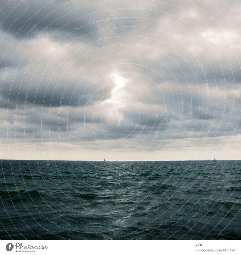 Seestück Himmel Natur blau Wasser Meer Wolken Gefühle Vogel Wasserfahrzeug glänzend Wetter Wellen Kraft Wind