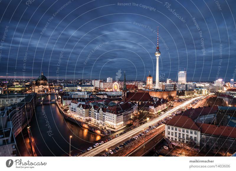 Berlin at night Ferien & Urlaub & Reisen Stadt blau gelb Straße Architektur Berlin Lifestyle Deutschland Tourismus Wachstum Verkehr modern Abenteuer Wandel & Veränderung Skyline