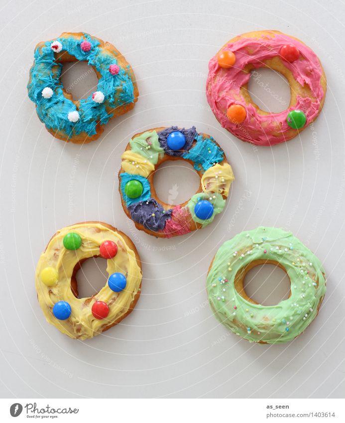 Donuts Farbe Freude Essen Feste & Feiern Lifestyle Lebensmittel hell rosa Design Dekoration & Verzierung Geburtstag Ernährung Kreativität genießen lecker