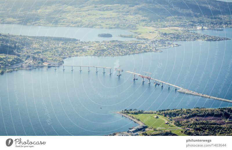 Tresfjordbrua- free cantilever Umwelt Natur Landschaft Wasser Sonne Klima Wetter Schönes Wetter Hügel Berge u. Gebirge Küste Strand Bucht Fjord Nordsee Meer