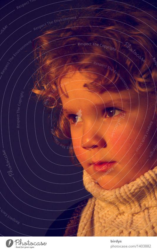 Ein Lichtblick Kind Mädchen Kindheit Gesicht 1 Mensch 3-8 Jahre Pullover blond langhaarig Locken Blick ästhetisch natürlich positiv schön Ehrlichkeit Neugier