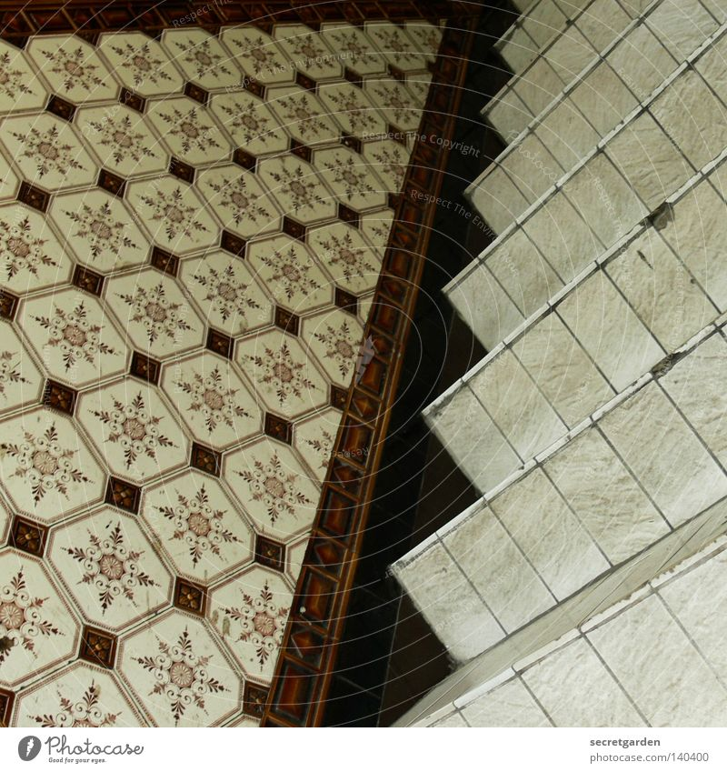 quadratische kacheln im quadrat. alt Haus Holz Wärme Gebäude Kunst braun liegen Treppe Innenarchitektur kaputt Stern (Symbol) Bodenbelag Häusliches Leben Dekoration & Verzierung