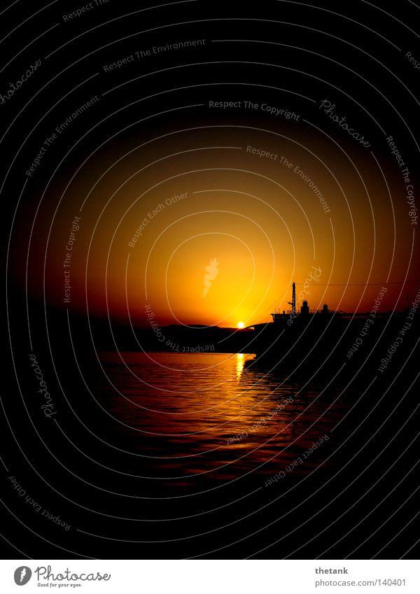 Ein Schnitt in die Brust ... ist der Abschied Sonne Strand Meer Wasser Küste Hafen Fähre Wasserfahrzeug Romantik Trauer Sonnenuntergang Korfu Griechenland