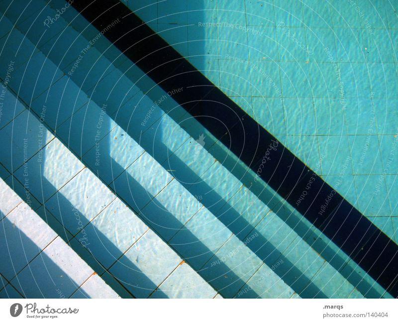 Ausstieg Bad Schwimmbad Ferien & Urlaub & Reisen Licht türkis Sommer Freibad schwarz Freizeit & Hobby Geometrie Hintergrundbild Freude dive blau swim step steps