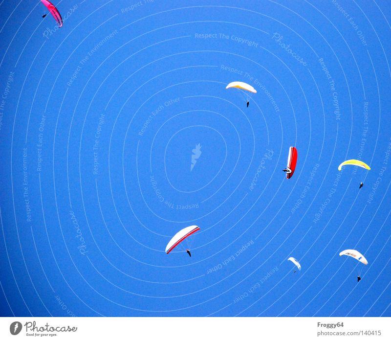 Getümmel Himmel Luft Gleitschirm Gleitschirmfliegen Slowenien hoch oben Wärme Sportveranstaltung Konkurrenz Pilot Flugzeug Beginn Meteorologie Spielen