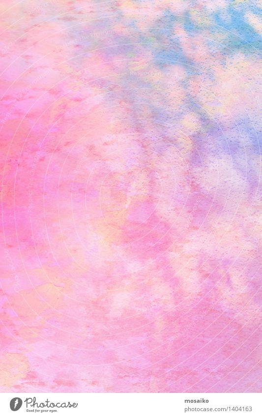 bunte Aquarelle - abstraktes backround Design Hand Kunst Gemälde Papier blau gelb rosa Farbe Wasserfarbe Kreide Farbstift Grunge Grafik u. Illustration