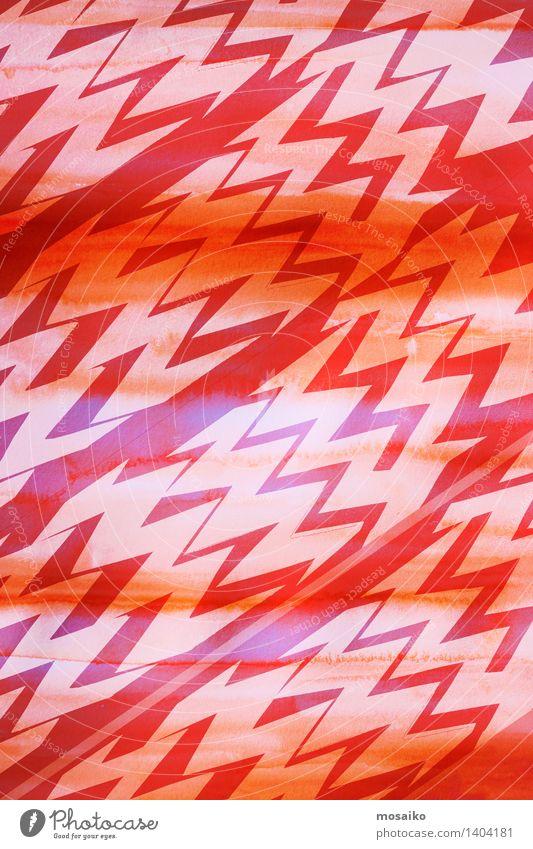 dynamisches Zickzackmuster Design Dekoration & Verzierung Kunst Ornament Linie hell modern rot Farbe Kreativität geschnitten minimalistisch