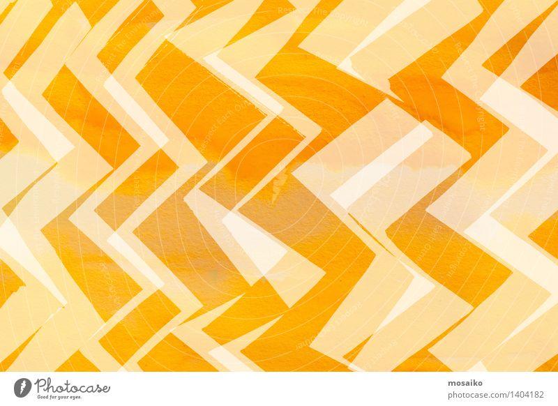 dynamisches Zickzackmuster - abstraktes Design Dekoration & Verzierung Kunst Ornament Linie hell modern gelb Zufriedenheit Energie Farbe komplex Kreativität