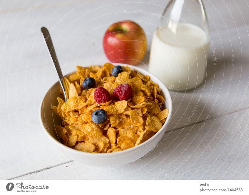 Cornflakes in einer Schale Frucht Apfel Frühstück Milch Schalen & Schüsseln Holz alt Frühstücksflocken Flocke Blaubeeren Zerealien Himbeer Müsli Erdbeeren Korn