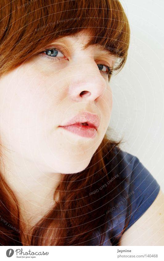höh? Frau schön weiß blau Auge Haare & Frisuren Nase Lippen bleich