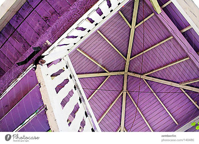 Lila Pause Holz Dach violett Geländer Treppengeländer Treppenhaus vertikal steil Wendeltreppe Pavillon Holzbauweise
