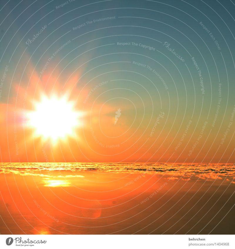 erleuchtung Himmel Natur Ferien & Urlaub & Reisen blau schön Sommer Sonne Wolken Ferne Frühling außergewöhnlich Freiheit fliegen Horizont orange träumen