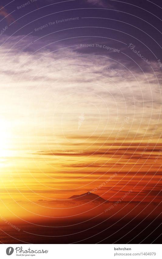 zeit des erwachens Himmel Ferien & Urlaub & Reisen schön Meer Erholung Wolken Ferne Berge u. Gebirge Küste Glück außergewöhnlich Freiheit orange träumen Tourismus Nebel