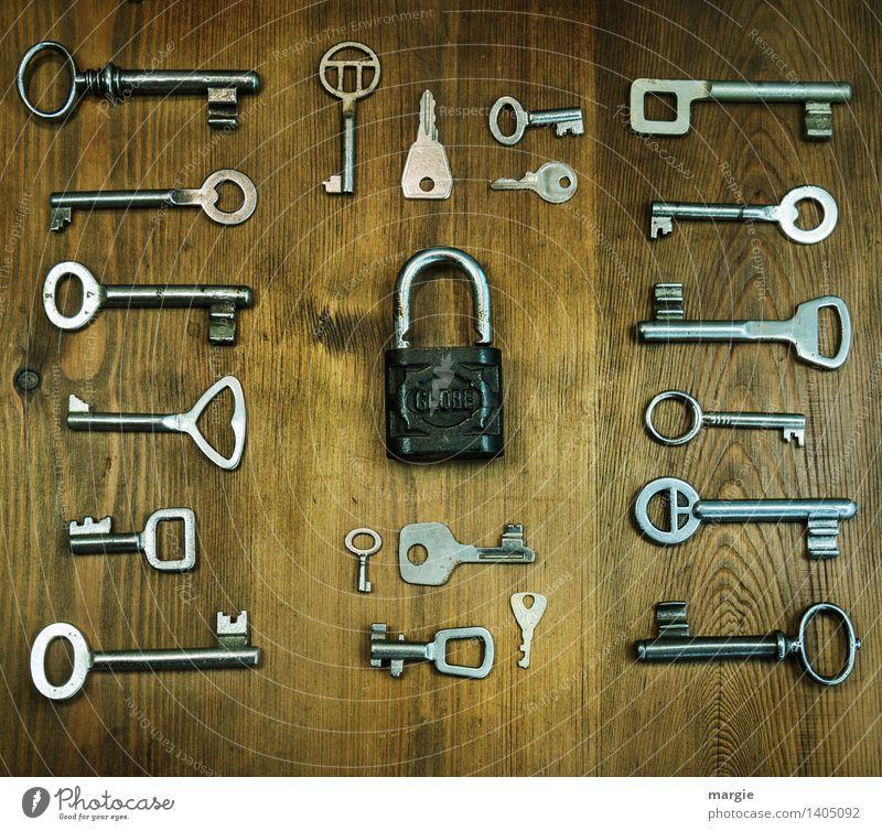 Einer passt! Viele unterschiedliche Schlüssel sind um ein Vorhänge - Schloss geordnet Beruf Handwerker Schlosser Schlosserei Dienstleistungsgewerbe Werkzeug