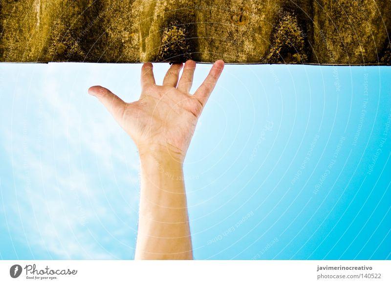 Himmel Hand Sommer Wolken Beleuchtung Arme Finger berühren Fliesen u. Kacheln positiv nehmen greifen schlagen Illumination Dachziegel